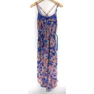 Candies S Dress High Low Blue Pink Floral Strappy